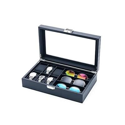 MQ ウォッチボックス 眼鏡 サングラス オーガナイザー ガラストップ メンズ/レディース カーボンファイバー 時計ホルダー ジュエリーケースボックス