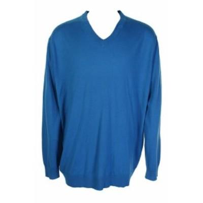 ファッション トップス Club Raum GroB & Hochgewachsen Blau Merinowolle V-Ausschnitt Pullover Xlt