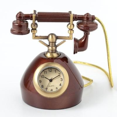 ミニチュアクロックコレクション[Miniature Clock Collection]ミニチュア置時計 電話 ブラウン 茶色/MC-C3539-BR