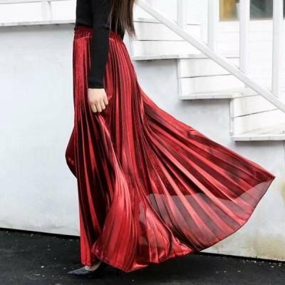 プリーツスカート スカート 光沢 ラメ 薄手 ハイウエスト ゴム きれい 大人 上品 カジュアル デート レディース 赤 グレー 黒 ブラック