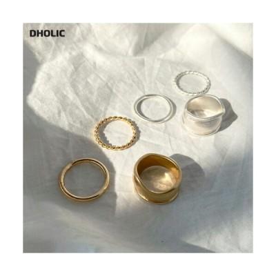 アクセサリー リング 指輪 細い 太い ワイド シンプル 華奢 ツイスト ベーシック 変形 シルバー ゴールド 3個 3つ セット