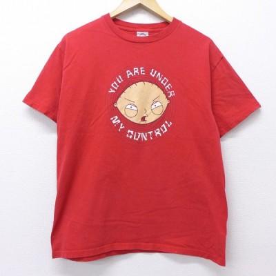 M/古着 半袖 ビンテージ Tシャツ 00s ファミリーガイ コットン クルーネック 赤 レッド 20jul08 中古 メンズ