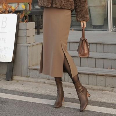 SK54458 裏起毛スリットHラインスカート  [CLICKNFUNNY] 送料無料! 韓国ファッションNo1