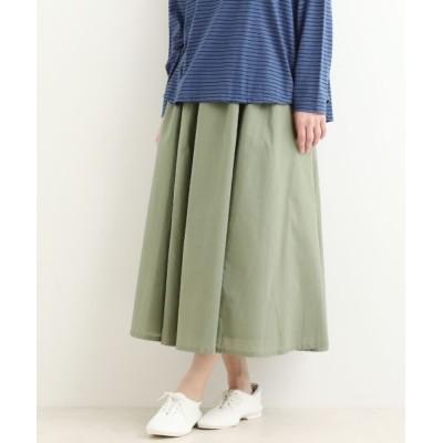 NIMES/ニーム Color cotton マキシギャザースカート オフ×グリーン フリー