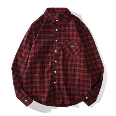 アロハシャツ カジュアルシャツ 格子柄 メンズ 春秋服 おしゃれ 長袖シャツ M レッド 前開き ハワイ風 韓国風 ビーチシャツ かわいい
