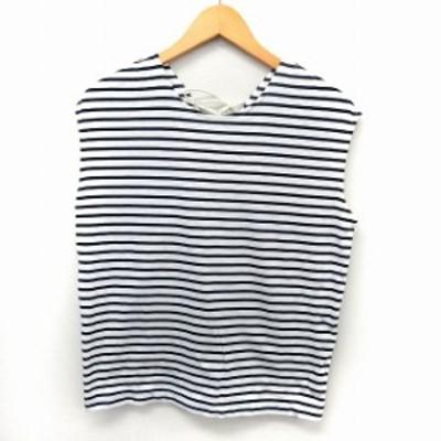 【中古】アダムエロペ Adam et Rope' カットソー Tシャツ ノースリーブ ボーダー バックレースアップ F ホワイト