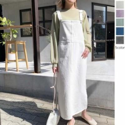 【2021春夏】【5カラー F】大人の女性も着やすいカラーバリエーションが魅力的なデニムジャンスカ♪ オールインワン スカート ジャンス