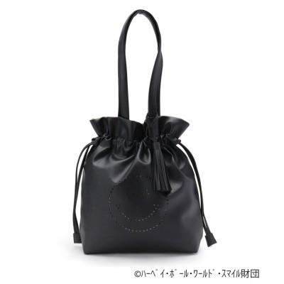 シューラルー SHOO-LA-RUE 【限定コラボ/数量限定】スマイルメタリック巾着バッグ (ブラック)