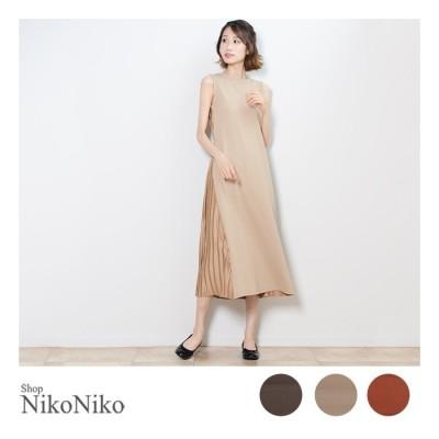ShopNikoNiko バックプリーツワンピース  ワンピース ワンピ ノースリ プリーツ 上品 大人 シンプル カジュアル 韓国ファッション レディース ベージュ フリー レディース