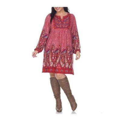 ホワイトマーク ワンピース トップス レディース Women's Plus Size Apolline Embroidered Sweater Dress Red