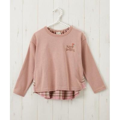 綿100%チェック切替ゆるシルエットトレーナー(女の子 子供服) (トレーナー・スウェット)Kids' Sweatshirts