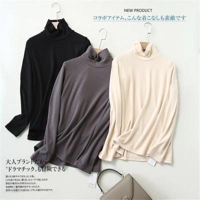 トップス Tシャツ チュニック 長袖 ハイネック レディース 暖か 秋冬 体型カバー コーヒー色 ベージュ Mサイズ