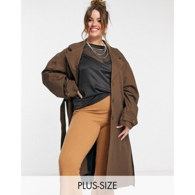 コルージョン Collusion レディース トレンチコート アウター COLLUSION Plus exclusive oversized belted trench in chocolate brown ブラウン