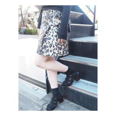MURUA ベルト付台形スカート(ミックス)