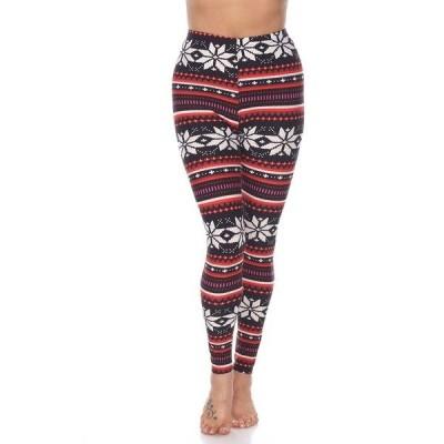 ホワイトマーク カジュアルパンツ ボトムス レディース Women's One Size Fits Most Printed Leggings Black/Red/White