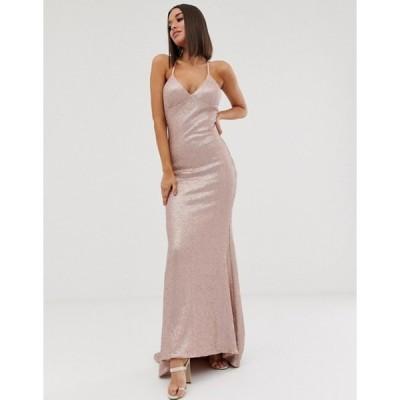 クラブエル ロンドン レディース ワンピース トップス Club L London sequin cami fishtail maxi dress in pink