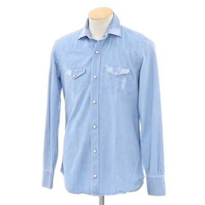 アウトレット イレブンティ eleventy リペア加工 シャンブレーシャツ ライトブルー 38