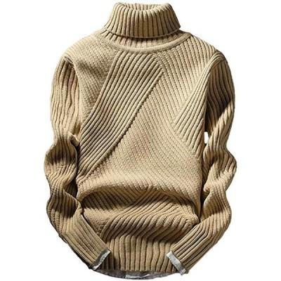 アスペルシオ ハイネック ニット セーター 太編み メンズ 肌色(ベージュ, 2XL)