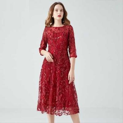 大きいサイズ ワンピース 高品質 ドレス スパンコール エレガント ロング丈 フォーマル パーティー  202102 202103 202104