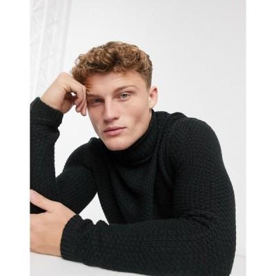 オンリーアンドサンズ メンズ ニット&セーター アウター Only & Sons chunky roll neck in black Black