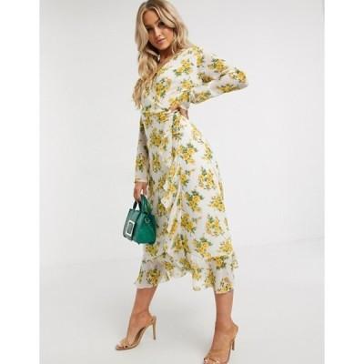 ミスガイデッド レディース ワンピース トップス Missguided ruffle hem wrap midi tea dress in floral print
