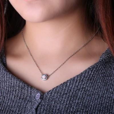 KELITCH オパール ペンダント ネックレス あずきチェーン シルバー ダイヤモンド 誕生石 ネックレス ピンク