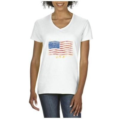レディース 衣類 トップス Womens American Flag USA V-Neck T-Shirt Tシャツ