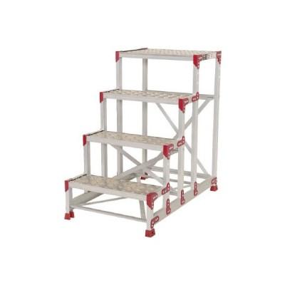 (直送品 代引き不可)(作業用踏台)ピカ 作業台 ZG−P型縞板仕様 4段 幅60cm高さ100cm  ZG-4610P