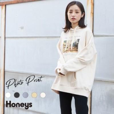 トップス レディース スウェット パーカー ゆったり 大きいサイズ 雑誌掲載 Honeys ハニーズ フォトプリントパーカー