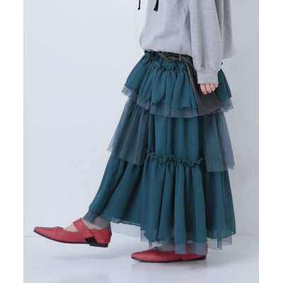 【オシャレウォーカー】 『n'Orふんわりシフォンチュールロングスカート』 レディース グリーン フリーサイズ osharewalker