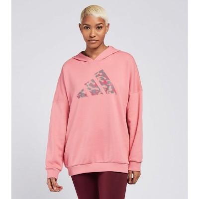 アディダス Adidas レディース パーカー トップス leopard fill logo hoodie Hazy Rose