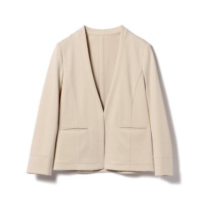 【ビームス アウトレット】 Demi-Luxe BEAMS / ポンチ ノーカラー Vネックジャケット レディース BEIGE 36 BEAMS OUTLET
