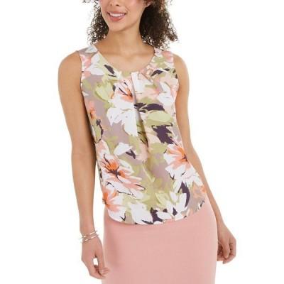 ナインウェスト カットソー トップス レディース Pleated Floral-Print Top Pale Blush Multi