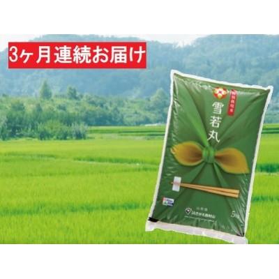 【3ヶ月】特A・一等米 特別栽培米 雪若丸5kg(精米) 山形県西村山産