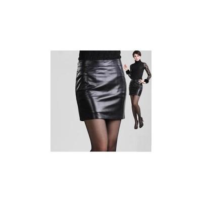 ラムレザー スカート ペンシルスカート タイトスカート レディース シンプルデザイン 本革 skirt  ミニスカート 皮スカート 光沢感 6サイズ展開