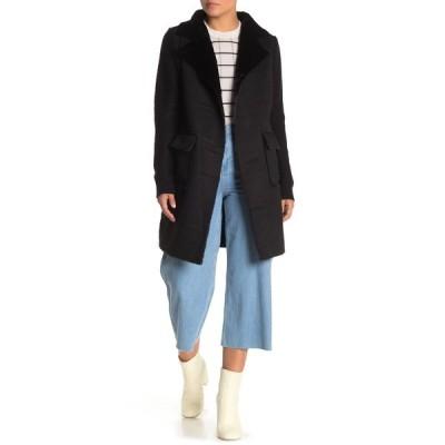 ラブトークン レディース ジャケット&ブルゾン アウター Faux Fur Sweater Back Jacket BLACK