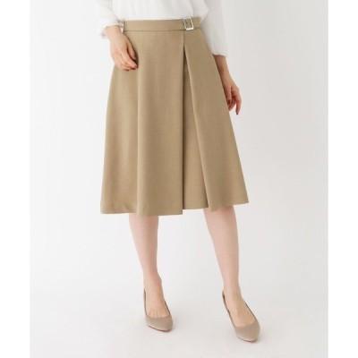 スカート 【大きいサイズあり・13号】タックフレアバックルスカート