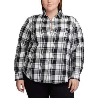 ラルフローレン カットソー トップス レディース Plus Size Plaid Roll Tab Button-Down Shirt Polo Black/White