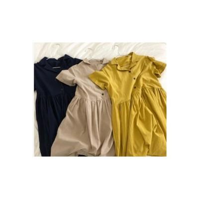 全3色 ブラウスワンピース フレアスカート 半袖 カジュアル ks-0005