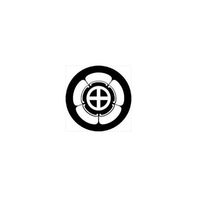 家紋シール 五瓜に轡紋 直径4cm 丸型 白紋 4枚セット KS44M-3695W