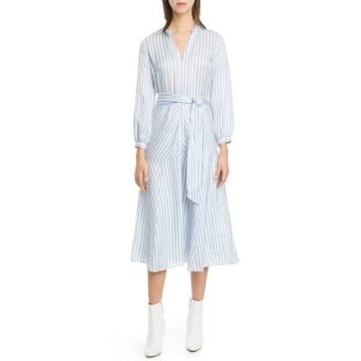 ヴェロニカ ベアード レディース ワンピース トップス Jenna Stripe Long Sleeve Midi Shirtdress BLUE/WHITE