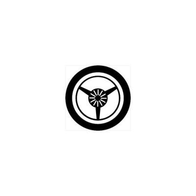 家紋シール 丸に三つ扇紋 直径10cm 丸型 白紋 2枚セット KS10M-3505W