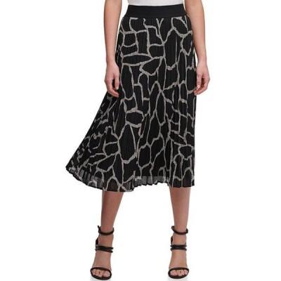 ダナ キャラン ニューヨーク レディース スカート ボトムス Giraffe Print Pleated Ribbed Knit Pull-On Midi Skirt