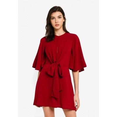 ブーフー Boohoo レディース パーティードレス スケータードレス ワンピース・ドレス Kimono Sleeve Tie Detail Skater Dress Red