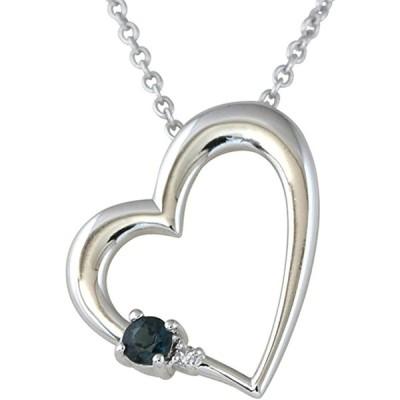 ジュエリーコトブキ 9月 誕生石 サファイア ダイヤモンド ハート ネックレス ALWAYS(いつも一緒 刻印) お花 ケース付 ギフトセット