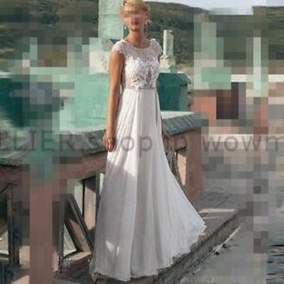 ウェディングドレス/ステージ衣装 Bohoホワイト/アイボリーレースシフォンビーチウェディングドレスブライダルドレスカスタムメイド