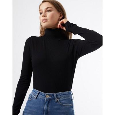 ミスセルフフリッジ レディース カットソー トップス Miss Selfridge long sleeve rib roll neck top in black Black