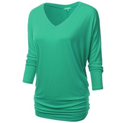 NINEXIS Womens V-Neck 3/4 Sleeve Drape Dolman Top Mint 2XL