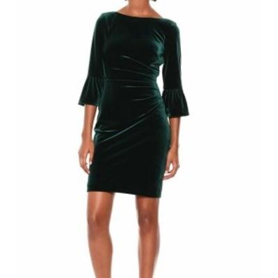 bell ベル ファッション ドレス Vince Camuto NEW Green Womens Size 6 Velvet Bell Sleeve Sheath Dress