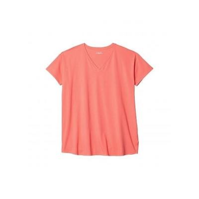 Eileen Fisher アイリーンフィッシャー レディース 女性用 ファッション Tシャツ Plus Size V-Neck Short Sleeve Tunic - Pink Grapefruit